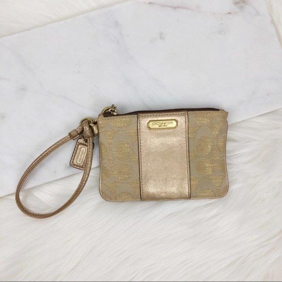 Coach Handbags - Coach Gold Wristlet Classic Logo